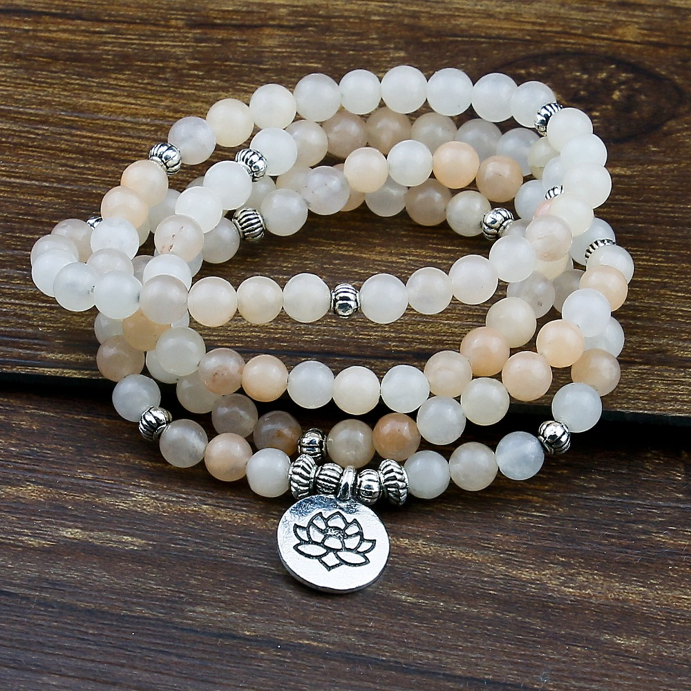 6mm 108 Prayer Beads Mala Bracelet Pink Aventurine Wrapped Wrists Lotus Charm Bracelet for Unisex Buddha Yoga Jewelry