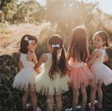 лучшая цена 2019 summer baby girl dress vest mesh patch girls tutu dress children party clothes for girls princess dance dress suit 1~8 age
