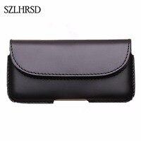 SZLHRSD Men Belt Clip Genuine Leather Pouch Waist Bag Phone Cover For Caterpillar Cat S61 S60
