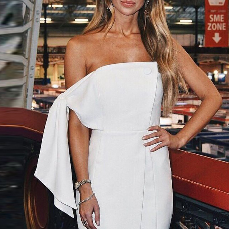 Dress Pour Gosexy Dress Moulante Bretelles Robe Party Robes red Sexy Blanc Club White 2019 Nouveautés Femme Asymétrique Dress black Off mN0v8nOw