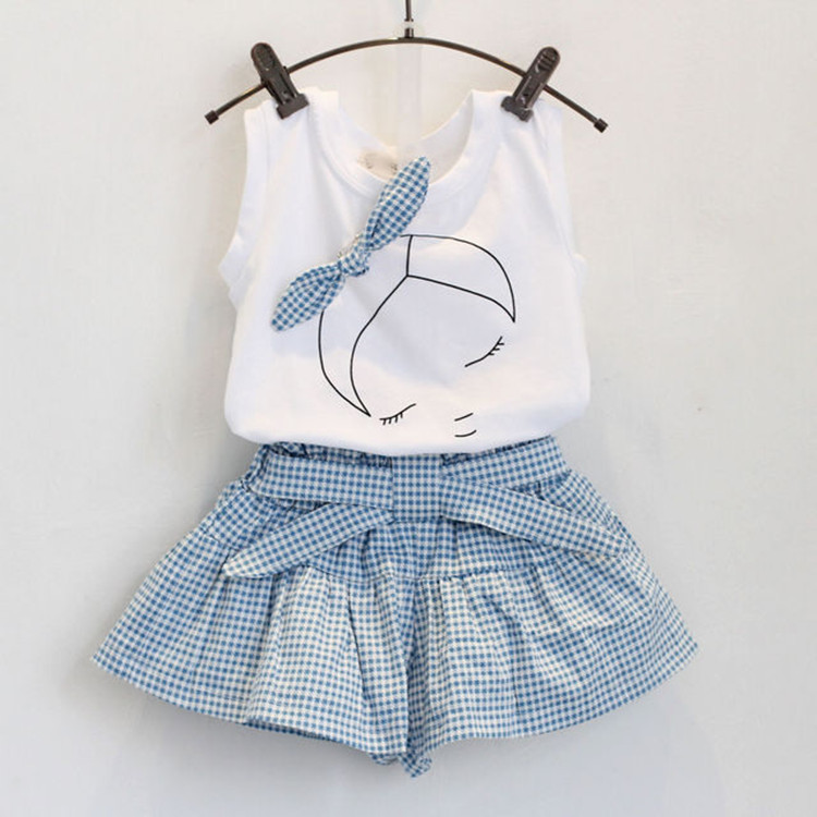 2017 Fashion 2PCS Kids Baby Girl Sleeveless Top T-shirt+Grid Shorts Pants Skirt Dress Clothes Set Outfit dresses party weding 2016 hot selling baby kids girls one piece sleeveless heart dots bib playsuit jumpsuit t shirt pants outfit clothes 2 7y