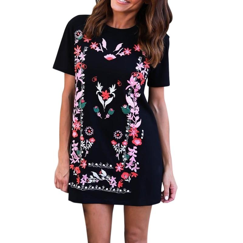 Summer Dresses Casual Womens Boho Straight O Neck Dresses Royal Blue Aztec Printed Short Sleeve Floral Shift  Mini Dress