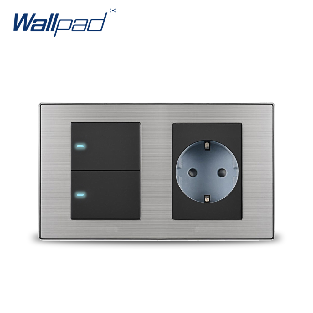2018 Wallpad 2 Gang 2 Way Switch With EU German Standard Schuko Socket Wall Power Socket Outlet Satin Metal Panel LED Indicator scinder switched socket package 15 steel frame two or three five hole electrical outlet wall switch panel switch