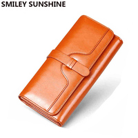Brown Genuine Leather Women Wallet Luxury Clutch Purse Money Bags Female Designer Wallets Famous Brand Women