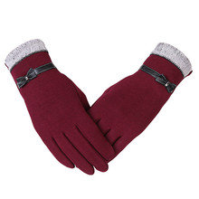 KUYOMENS New Fashion Women Gloves Autumn Winter Cute Bow Warm warmer Mitts Full Finger Mittens Women Cashmere Female Gloves