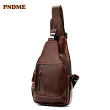 PNDME retro genuine leather men's multi-function chest bag casual first layer cowhide daily light brown shoulder crossbody bag недорого