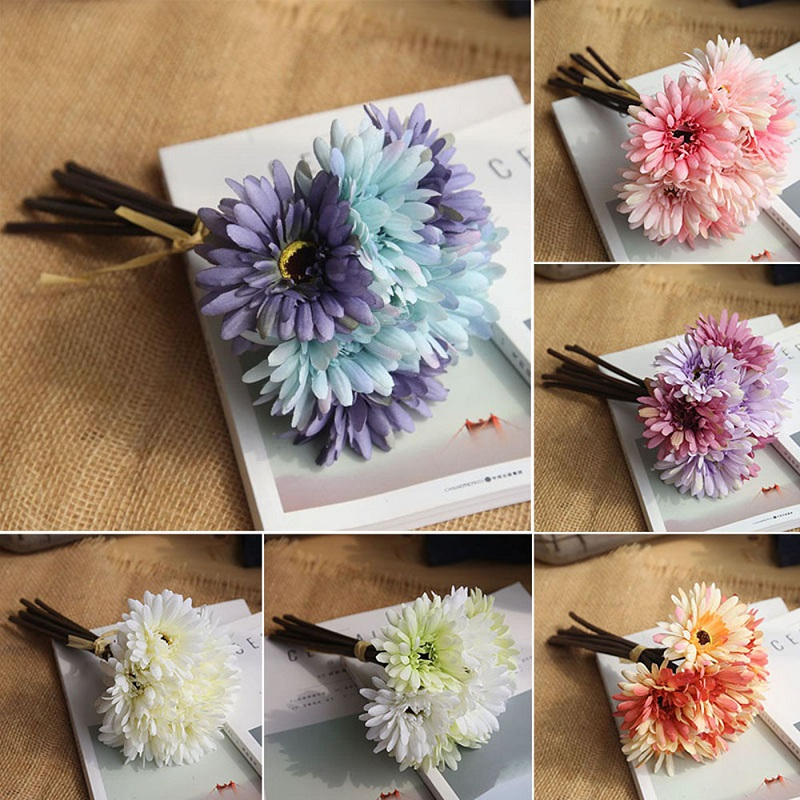 1 Bouquet Daisy Flowers Artificial Gerbera Flower  Fake Silk Holding Home Decoration Wedding Bouquets
