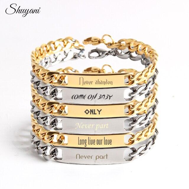 21c7001c227b Pulseras y brazaletes de cadena con nombre personalizado de acero  inoxidable para mujer pulsera grabada para