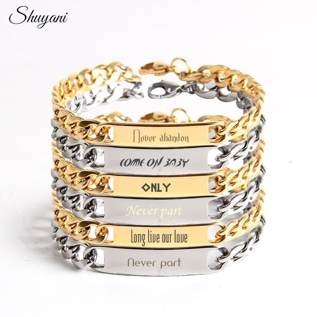 Stainless Steel Diy Customized Name Alphabet Chain Bracelets Bangles Women Men Engraved Bracelet