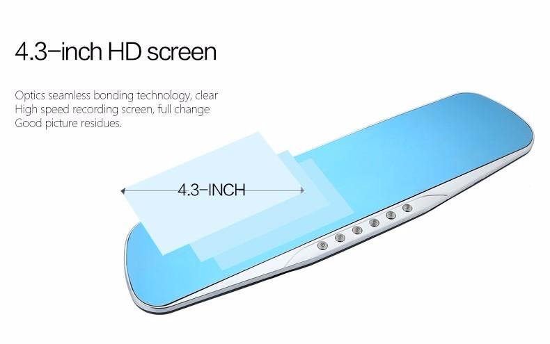 E-ACE Car Dvr Camera Led Lights Blue Rearview Mirror FHD 1080P Night Vision Video Recorder Dual Lens Auto Registrator Dash Cam 13
