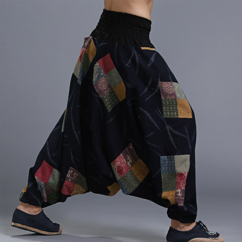 Men's Cotton Big Crotch Crago Pants Elastic Waist Aladdin Harem Wide Leg Ninja Pants Trousers Casual Nepal Male Indian Pants