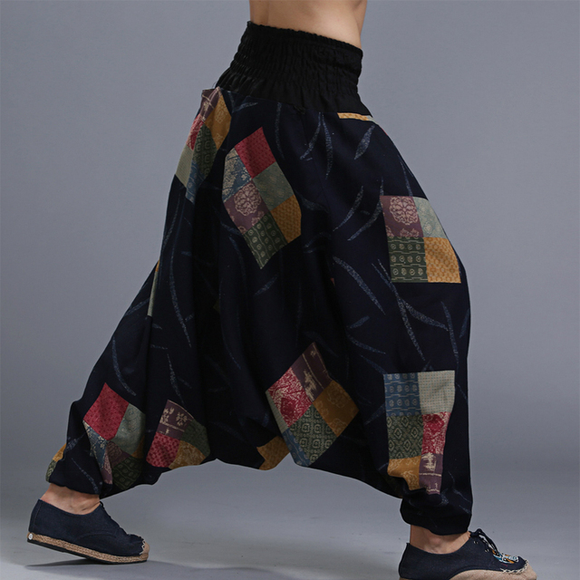 Men's Cotton Big Crotch Crago Pants Elastic Waist Aladdin Harem Wide leg Ninja Pants Trousers Casual Nepal Male Indian Pants 1