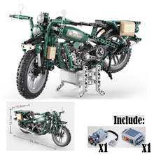 In Stock motorcycle US Military Army Green Technic 550pcs Model Motor Building Block Brick Toys For Children Kids Gifts(China)