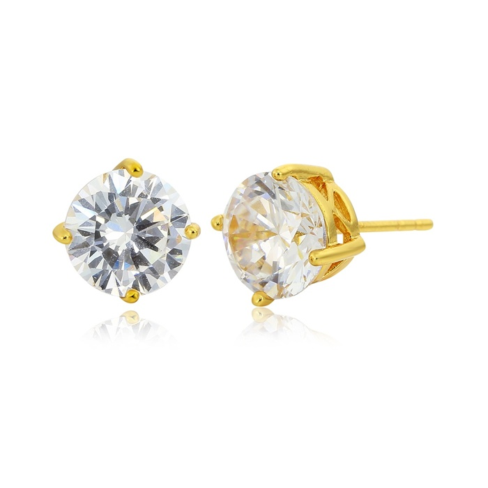 Bold Yellow Gold Plated Four Claw Solitaire Round Cz Stud Earrings ...
