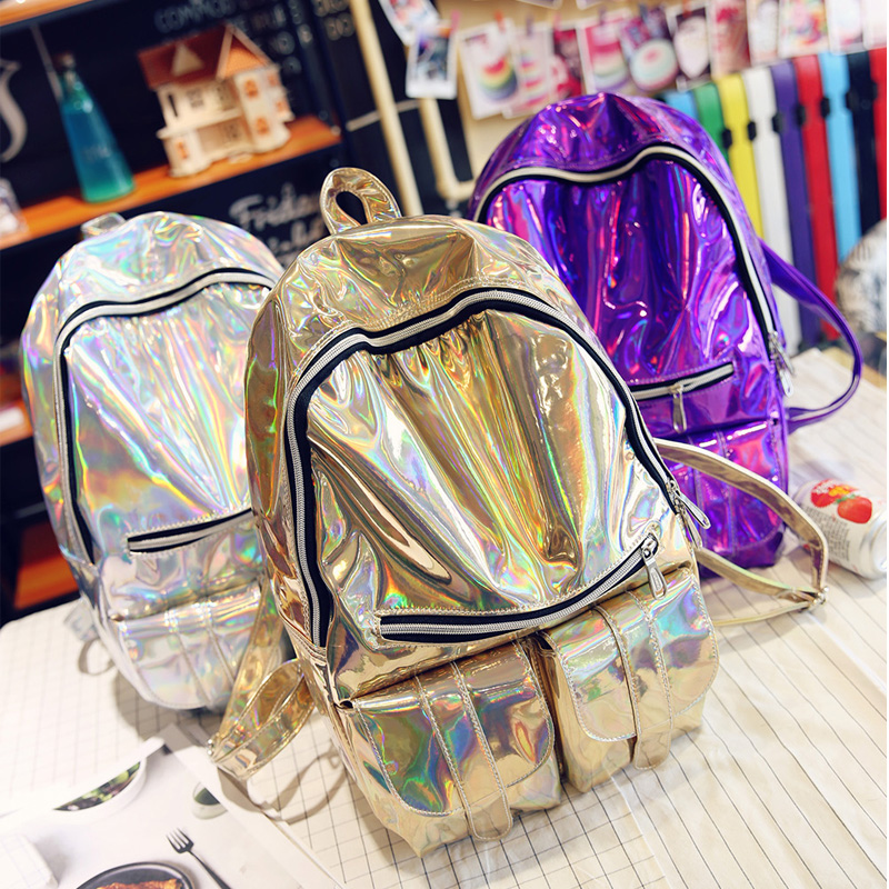 0b2c0a0ffa Famous Designer Hologram School Backpacks for Girl Leather Shoulder Bags  Fashion Silver Laser Women Backpacks Female Travel Bag-in Backpacks from  Luggage ...