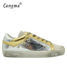 CANGMA Autumn Men Sneakers Fashion Design Shoes Silver Genuine Leather Casual Shoes Flats Male Breathable Brand Bass Footwear