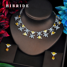 HIBRIDE Luxury Design Yellow Cubic Zircon Pendientes Mujer Jewelry Sets Women Bridal Dress Accessories Bijoux Mariage Gift N-520