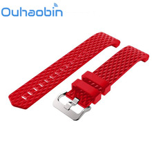 Ouhaobin 135- 230mm New Fashion Sports Silicone Bracelet Strap Band + HD Film For Fitbit Charge 2 Gift Oct 20 Dropship