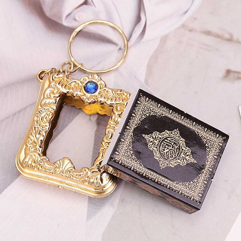 Image 2 - 1Pcs New Muslim Keychain Resin Islamic Mini Ark Quran Book Real 