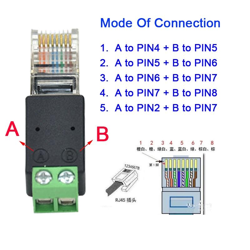 5pcs RJ45 male to Screw Terminal Adaptor RJ45 to 485, RJ45