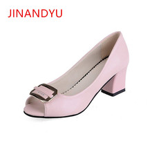 New Women Pumps Square Buckle Peep Toe High Heels Ladies Thick Heels Party Wedding High-heeled Shoes Woman Summer 2018 Sandals недорого
