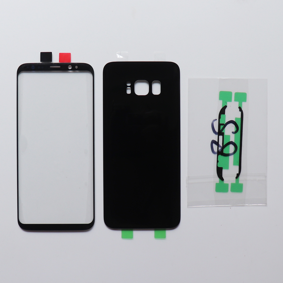 Front Touch Panel Outer Lens+Rear Battery Door Back Glass Housing Cover + Adhesive For Samsung Galaxy S8 G950 S8 + G955 S8 Plus