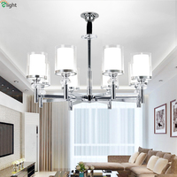 Modern Lustre Chrome Metal Led Pendant Chandeliers Light Glass Shades Dining Room Led Chandelier Lighting Hanging