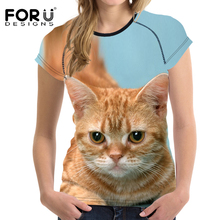 FORUDESIGNS Harajuku Cute Cat T-Shirts Women T shirt 2017 Summer Ladies Tops Siamese cat Print Tees Tops O-neck Camisetas Mujer