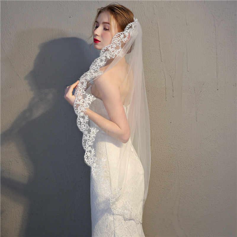 JaneVini Vintage Ivory/White Wedding Veil กับหวี One Layer Tulle ผู้หญิงสั้นเจ้าสาว Veil Lace Applique Edge เจ้าสาวอุปกรณ์เสริม