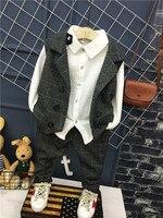 3pcs Boys Gentleman Formal Suits Striped Fashion Waistcoat + shirt + trousers Kids Wedding Suits Children Party Clothing Sets
