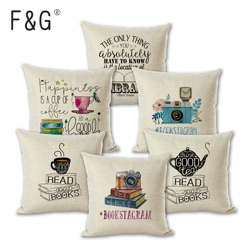 Newest Sofa Pillow Case Nice Tea Reading Books Beautiful Life Gorgeous Words Enjoy Time Cushion Cover in Cushion Cover from Home Garden