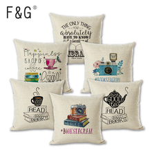 Newest Sofa Pillow Case Nice Tea Reading Books Beautiful Life Gorgeous Words Enjoy Time Cushion Cover