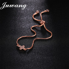 JUWANG 4 Colors New Cross Braceler&Bangle for Woman Girl Cubic Zirconia Crystal Rhinestone