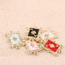 10pcs/pack Fashion Rhinestone Poker Enamel Charms Alloy Oil Drop Pendant Fit For Bracelet DIY Fashion Jewelry Accessories YZ306 цены