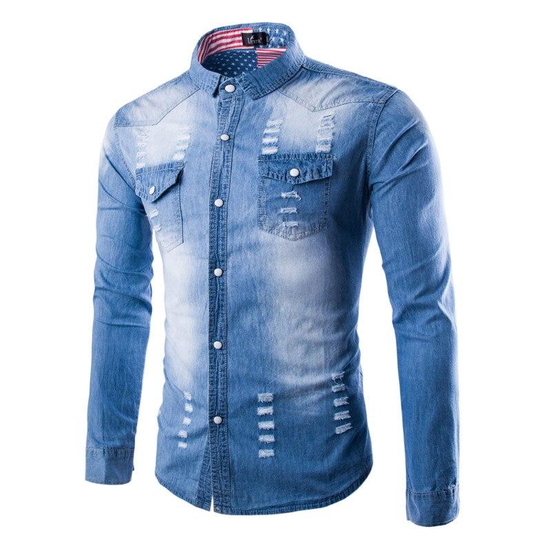 2019 Super Fashion Men's Jeans Long Sleeve Shirts Denim Slim Printed Men's Shirts Hip Hop Casual Distrressed Ripped Cargo Shirts