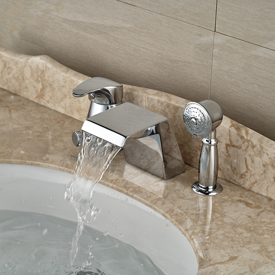 Wholesale And Retail Promotion Deck Mounted Chrome Brass Waterfall Spout Bathroom Tub Faucet W/ Hand Sprayer wholesale and retail brushed nickel waterfall spout bath tub faucet deck mounted three handles bathroom tub faucet set