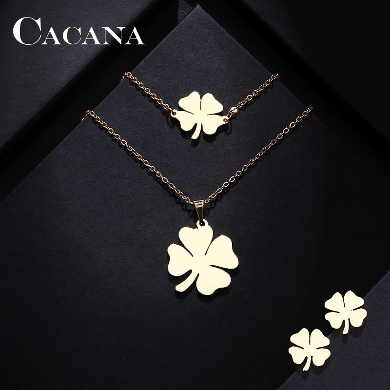 CACANA Stainless Steel Sets For Women Clover Shape Necklace Bracelets Earrings For Women Lover's Engagement Jewelry(China)