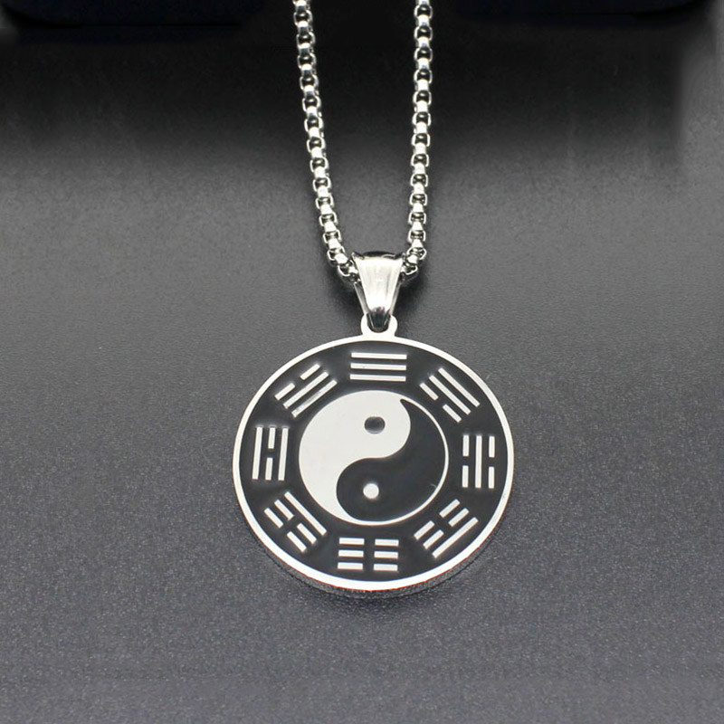 316L stainless steel Silver color Enamel Black White Circle Bagua Tai Chi <font><b>Ying</b></font> <font><b>Yang</b></font> Pendant <font><b>Collar</b></font> Lucky Necklace Jewelry image