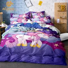 Unicorn Bedding Set Purple Designer Duvet Cover Cartoon Rainbow Animal Printed Bed Line for Girl Princess Room 3pcs US/AU/RU