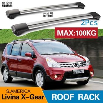 2Pcs Roof bars For NISSAN Livina X-Gear S.AMERICA 2009+ Aluminum Alloy Side Bars Cross Rails Roof Rack Luggage CUV SUV LED
