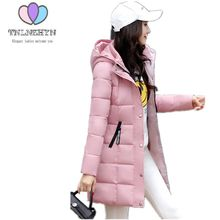 TNLNZHYN 2017 Women Winter Coat Hooded Solid color Large size Warm Jackets Coats Parka Medium long Thicken Cotton Jacket Coats