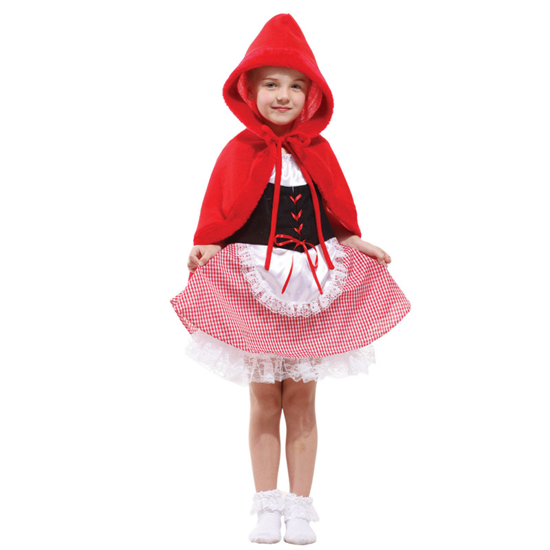 Umorden Purim Carnival Party Halloween Little Red Riding Hood Costumes Girl Girls Cute Red Hood Costume Cosplay Fancy Dress