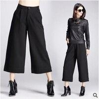 2015 Automne Femmes Pantalon Casual Taille Haute Évasé Jambe Large Pantalon Long Palazzo Capri Floral Classique Baggy Danse Casual Pantalon