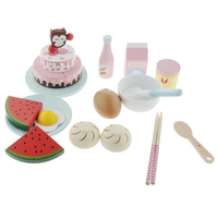 Wooden Breakfast Play Kitchen Food Set with Cake, Milk, Watermelon and More
