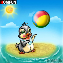 HOMFUN 5D DIY Diamond Painting Full Square/Round Drill Cartoon penguin 3D Embroidery Cross Stitch gift Home A08565