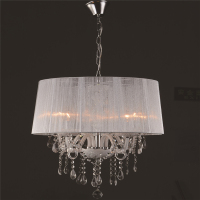 Modern Restaurant K9 Crystal Lamp Pendant Lamp Light In The Bedroom Minimalist Personality Cloth Cover Crystal