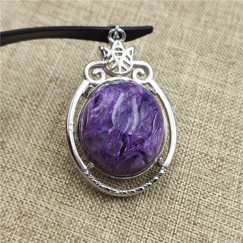 Natural Purple Charoite Pendant 33x22mm Crystal Stone Beads Men Woman Love Gift 925 Sterling Silver Necklace Pendant Jewelry