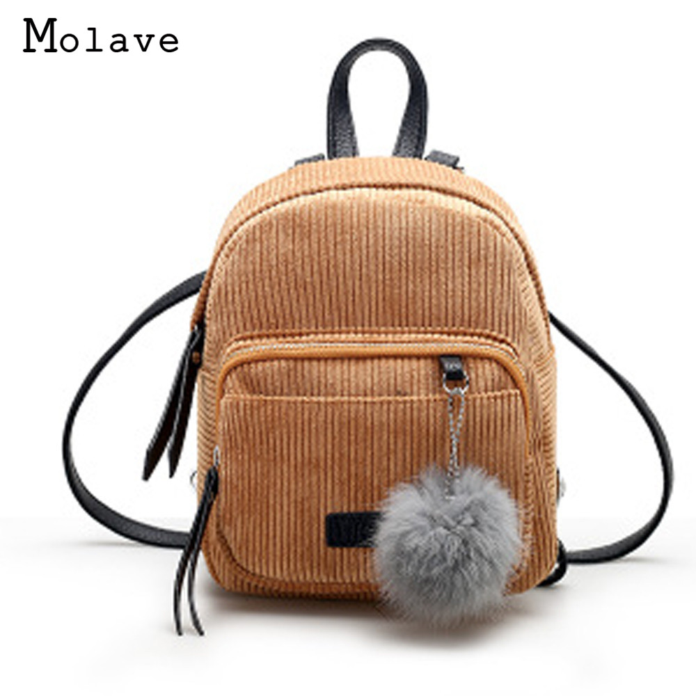 2017 New Fashion Women Corduroy Backpack Small Teenagers School Bag Girls Travel Rucksack Backpack La Mochila May23 corduroy goes to school