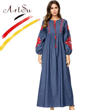ArtSu Retro Tribal Ethnic Embroidery Long Dress Plus Size Women Tassel Tie Neck Lantern Sleeve Denim Maxi Dresses A-Line Robe(China)
