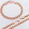Customized 6.5mm Mens Womens Chain Curb Cuban HELIX Link Rose Gold Filled Necklace Bracelet Set Wholesale Jewelry Set GS187